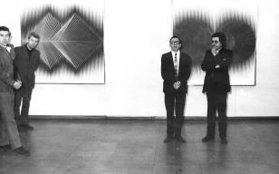 Od lewej x, red. Lucjan Włodkowski [?] dyr. Ryszard Stanisławski, Alberto Biasi