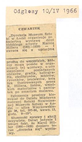 Dyrekcja Muzeum Sztuki w Łodzi organizuje pośmiertną wystawę [...]