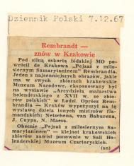 Rembrandt znów w Krakowie
