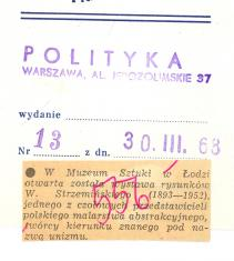 W Muzeum Sztuki w Łodzi otwarta została wystawa rysunków W. Strzemińskiego [...]