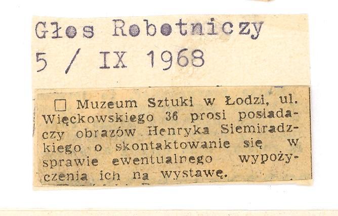 Muzeum Sztuki w Łodzi, ul.Więckowskiego 36 prosi posiadaczy obrazów Henryka Siemiradzkiego [...]