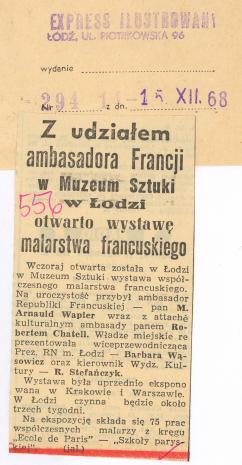 Z udziałem ambasadora Francji w Muzeum Sztuki w Łodzi otwarto wystawę malarstwa francuskiego