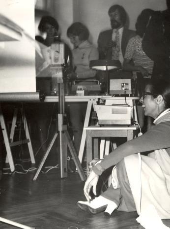 Z prawej (siedzi) Daniéle Giraudy (kustosz Muzeum Sztuk Pięknych w Marsylii)