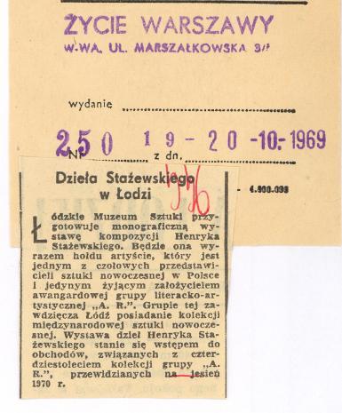 Dzieła Stażewskiego w Łodzi