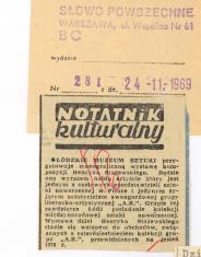 Łódzkie Muzeum Sztuki przygotowuje monograficzną wystawę  kompozycji Henryka Stażewskiego. [...]