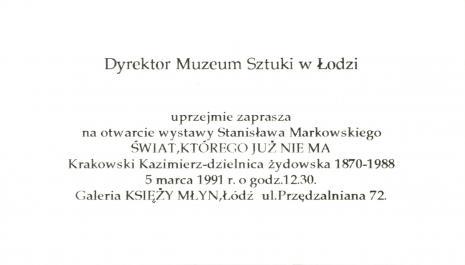 [Zaproszenie] Świat, którego już nie ma. Krakowski Kazimierz - dzielnica żydowska 1870-1988 [...]