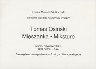 [Zaproszenie] Tomas Osinski. Mięszanka/Miksture [...]