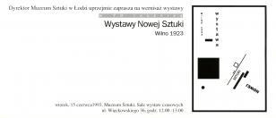 [Zaproszenie] w 70 rocznicę Wystawy Nowej Sztuki. Wilno 1923 [...]