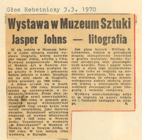 Wystawa w Muzeum Sztuki Jasper Johns - litografia