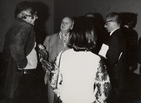 Od lewej François Morellet, Henryk Stażewski, dyr. Ryszard Stanisławski