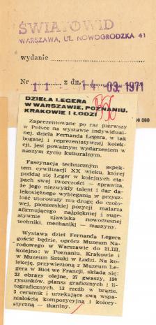 Dzieła Legera w Warszawie, Poznaniu, Krakowie i Łodzi