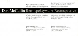 [Zaproszenie] Don McCulllin. Retrospektywa/ A Retrospective [...]
