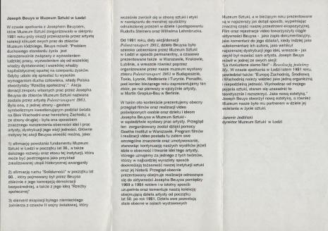 [Informator] Joseph Beuys. Program video [...]