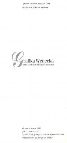 [Zaproszenie] Grafika wenecka XVIII wieku ze zbiorów polskich [...]