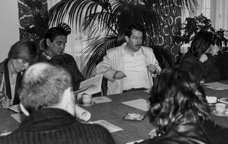 Konferencja prasowa w czytelni biblioteki ms, od lewej red. Barbara Jakubowicz (Centrum Informacji Kulturalnej w Łodzi), red. Zbigniew W. Nowak (Kalejdoskop), Donald Pirie (Uniwersytet w Glassgow), Maria Morzuch (Dział Sztuki Nowoczesnej)
