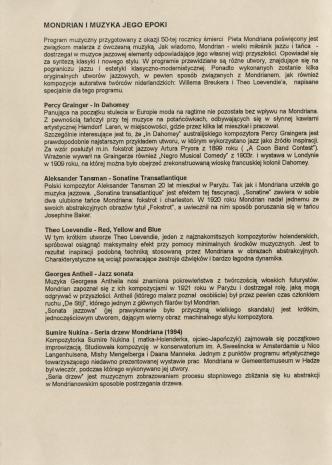 [Informator] Mondrian i muzyka jego epoki [...]