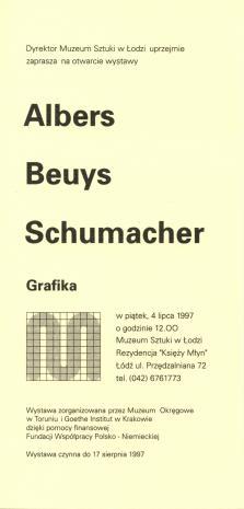 [Zaproszenie] Albers, Beuys, Schumacher. Grafika. [...]