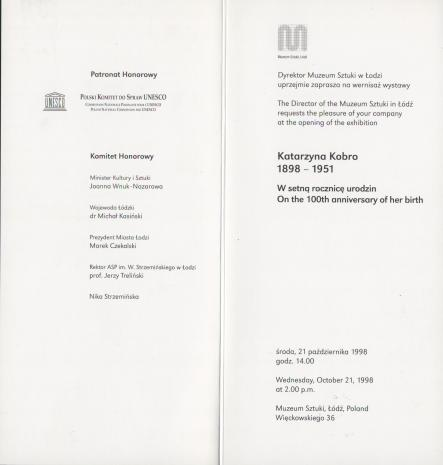 [Zaproszenie] Katarzyna Kobro 1898 - 1951. W setną rocznicę urodzin [...]/ On the 100th anniversary of her birth [...]
