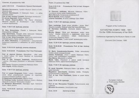 [Informator] Program sesji Katarzyna Kobro 1898 - 1951. W setną rocznicę urodzin [...]/ Program of the Conference Katarzyna Kobro 1898 - 1951. On the 100th Anniversary of her birth [...]