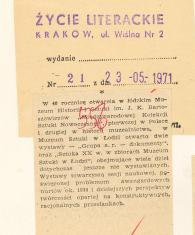 W 40 rocznicę otwarcia w łódzkim Muzeum Historii i Sztuki im. J.K. Bartoszewiczów [...]