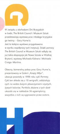 [Zaproszenie/Folder] Gary Hume. Portrety [...]