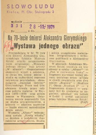 Na 70-lecie śmierci Aleksandra Gierymskiego.