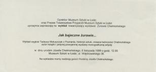 [Zaproszenie/Ulotka] [...] wykład towarzyszący wystawie Żurawie Chełmońskiego Jak bajeczne żurawie... [...]