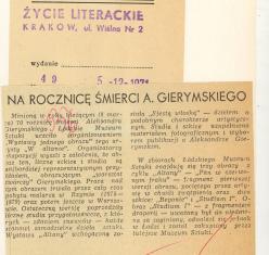 Na rocznicę śmierci A.Gierymskiego
