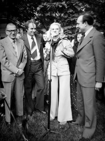 Od lewej dyr. Ryszard Stanisławski, Stanisław Dyzbardis, x, Jan Zdrojewski