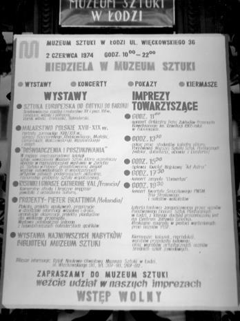 Plakat reklamujący 'Niedzielę w Muzeum Sztuki'