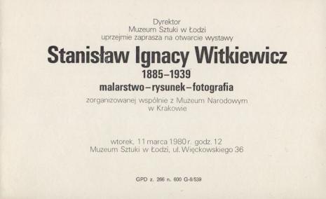 [Zaproszenie] Stanisław Ignacy Witkiewicz 1885 - 1939. malarstwo - rysunek - fotografia [...]