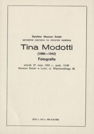 [Zaproszenie] Tina Modotti (1896 - 1942). Fotografie [...]