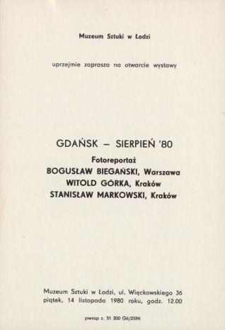 [Zaproszenie] Gdańsk - sierpień '80. Fotoreportaż [...]