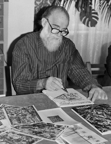 Konferencja prasowa w czytelni biblioteki ms, Emilio Vedova
