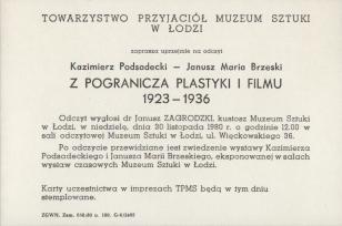 [Zaproszenie] Kazimierz Podsadecki - Janusz Maria Brzeski. Z pogranicza plastyki i filmu 1923 - 1936 [...]