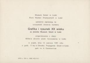 [Zaproszenie] Grafika i rysunek XX wieku ze zbiorów Muzeum Sztuki w Łodzi [...]