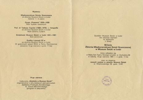 [Zaproszenie/Informator] Dyrektor ma zaszczyt zaprosić na spotkanie z okazji 50-lecia Zbiorów Międzynarodowej Sztuki Nowoczesnej w Muzeum Sztuki w Łodzi [...]