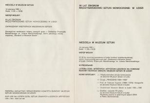 [Program] 50 lat zbiorów Międzynarodowej Sztuki Nowoczesnej w Łodzi. Niedziela w Muzeum Sztuki [...]