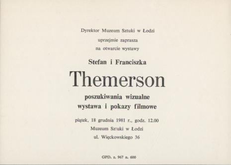[Zaproszenie] Stefan i Franciszka Themerson. poszukiwania wizualne. wystawa i pokazy filmowe [...]
