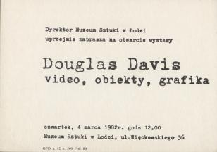 [Zaproszenie] Douglas Davies. video, obiekty, grafika [...]