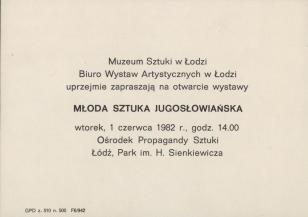 [Zaproszenie] Młoda sztuka jugosłowiańska [...]