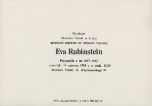 [Zaproszenie] Eva Rubinstein. Fotografie z lat 1967 - 1982 [...]