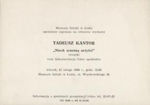[Zaproszenie] Tadeusz Kantor.