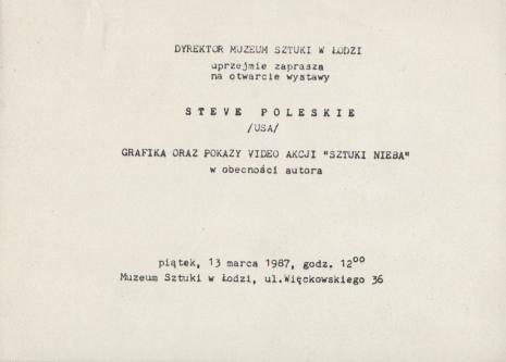 [Zaproszenie] Steve Poleskie /USA/ [...]