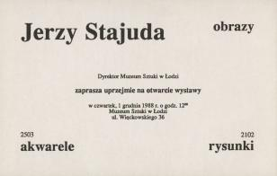 [Zaproszenie] Jerzy Stajuda obrazy, akwarele, rysunki [...]