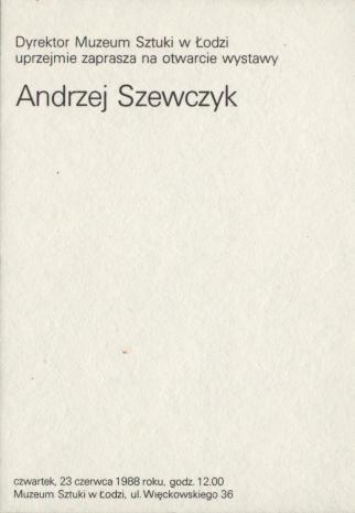 [Zaproszenie] Andrzej Szewczyk [...]