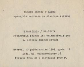 [Zaproszenie] Spojrzenia / Wrażenia. Fotografia polska lat osiemdziesiątych ze zbiorów Muzeum Sztuki [...]