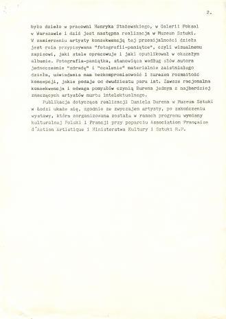 Pokaz Daniela Burena w Muzeum Sztuki [komunikat prasowy]