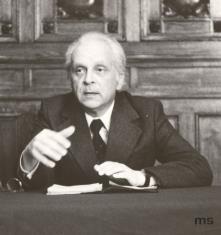 Prof. Mieczysław Porębski w Sali odczytowej ms
