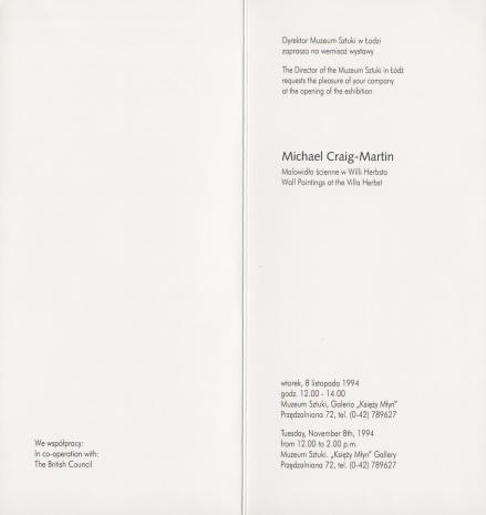 [Zaproszenie] Michael Craig-Martin. Malowidła ścienne w Willi Herbsta/ Wall Paintings at Villa Herbst [...]